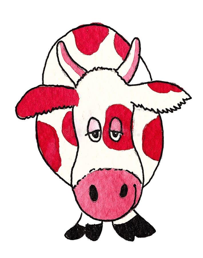 Lustige rote Kuh lizenzfreie abbildung