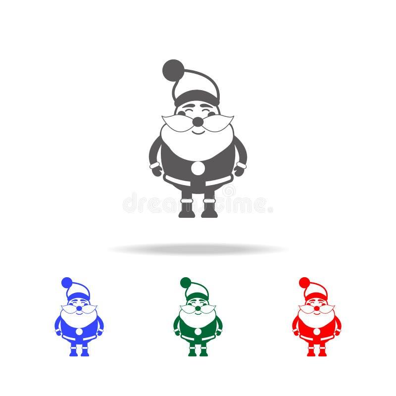 Lustige Santa Claus-Charakterikone Elemente von Weihnachtsfeiertagen in den multi farbigen Ikonen Erstklassige Qualitätsgrafikdes lizenzfreie abbildung