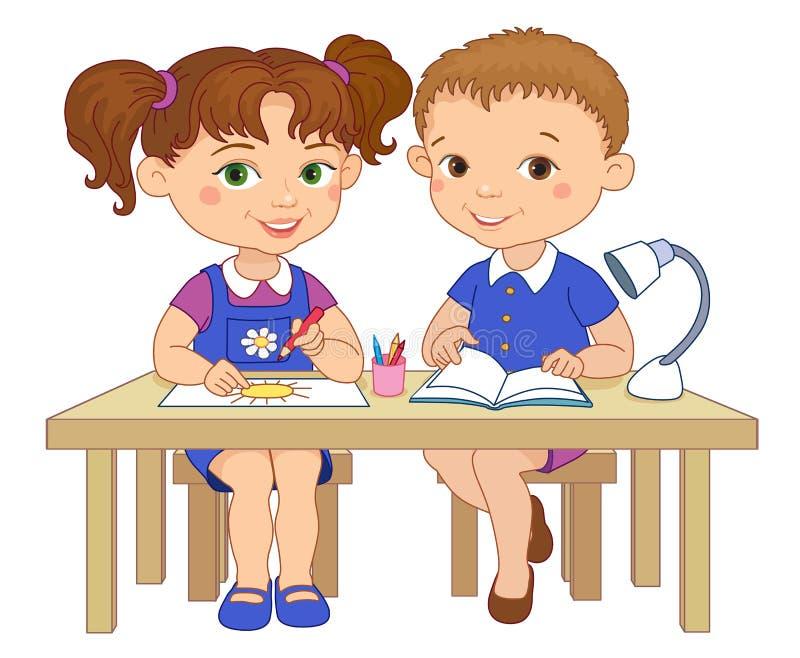 Lustige Schüler sitzen auf Schreibtische gelesener Lehm-Karikaturillustration des abgehobenen Betrages vektor abbildung