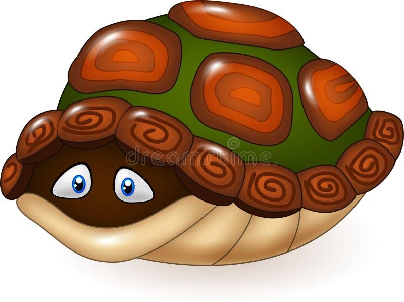 Lustige Schildkröte der Karikatur versteckt sich in seinem Oberteil lizenzfreie abbildung