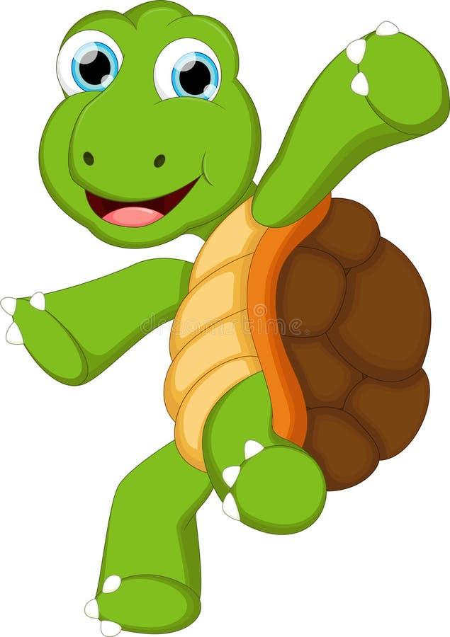Lustige Schildkrötenkarikatur mit leerem Zeichen für Sie entwerfen lizenzfreie abbildung