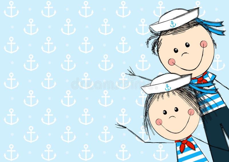 Lustige Seemannkinder stock abbildung
