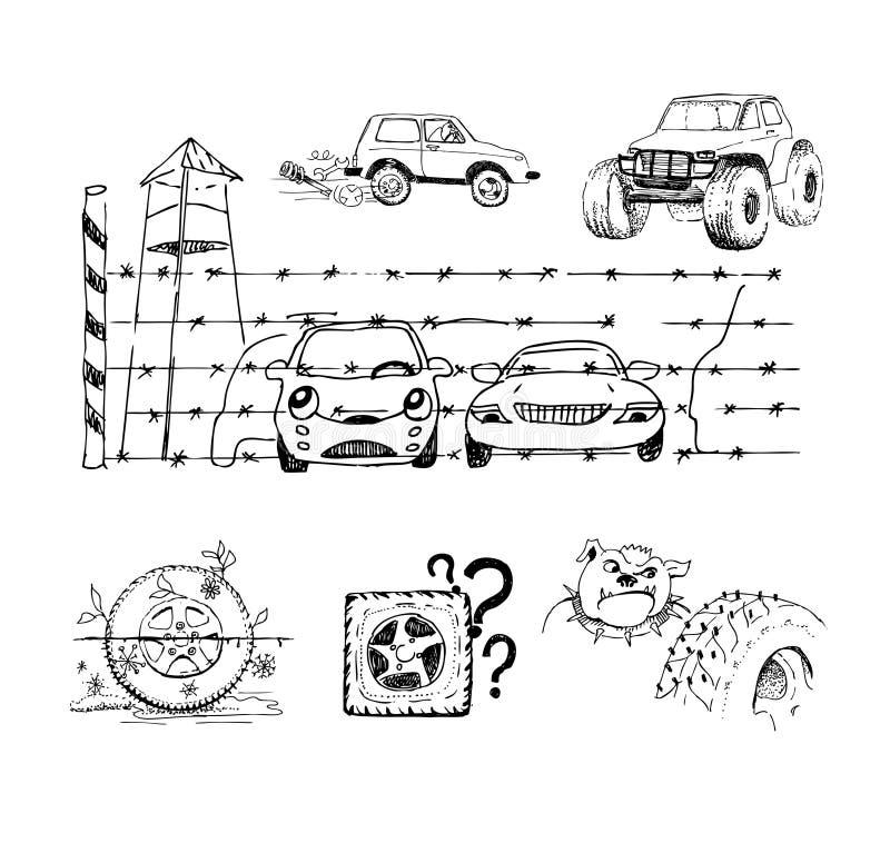 Lustige Skizzen über Autos Und Ihr Zubehör Vektor Abbildung ...