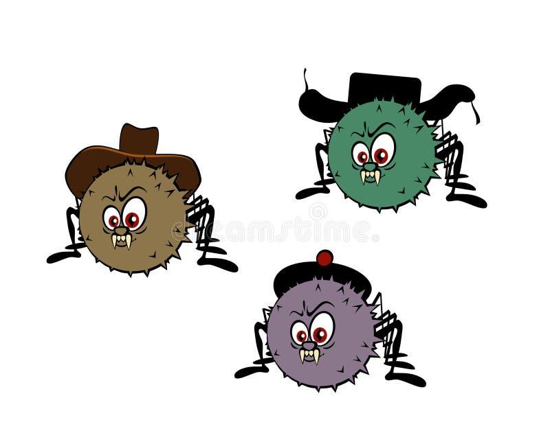 Lustige Spinnen mit Hüten vektor abbildung