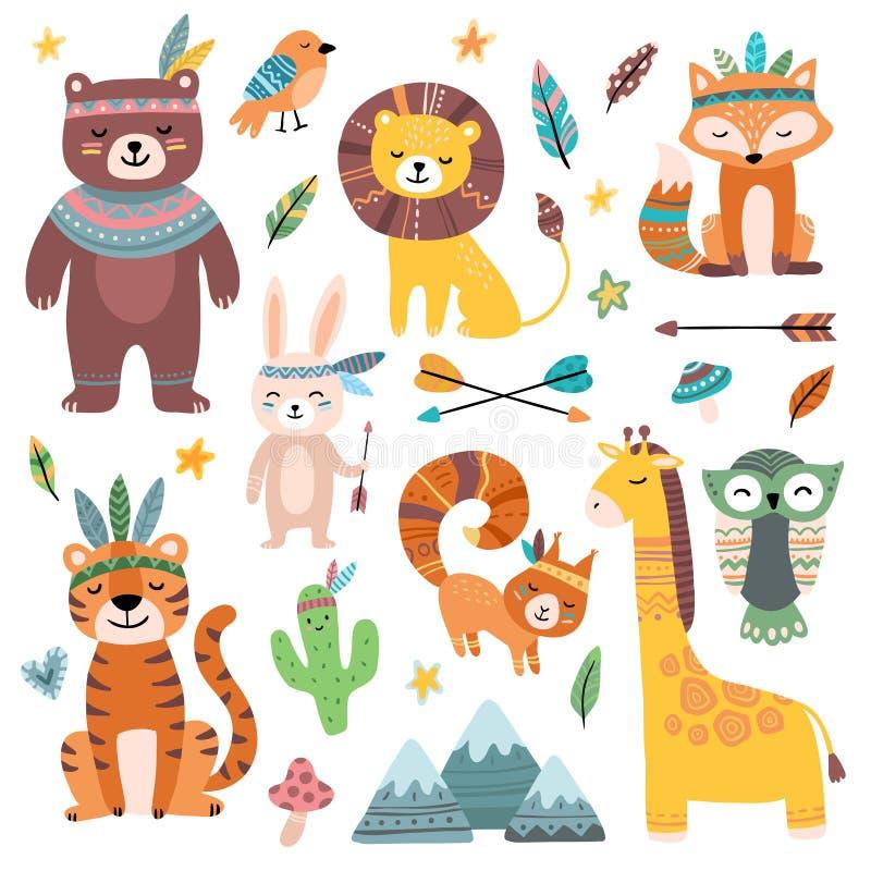 Lustige Stammes- Tiere Waldbabytier, netter wilder Waldfuchs und Dschungel tribals Zoo lokalisierter Karikaturvektor lizenzfreie abbildung