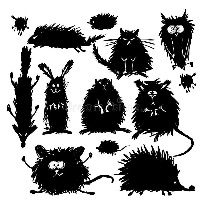 Lustige stilisierte Tiersammlung Skizze für Ihren Entwurf lizenzfreie abbildung