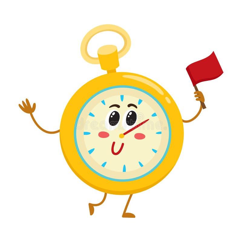 Lustige Stoppuhr, Timer, Timekeepingcharakter mit lächelndem menschlichem Gesicht vektor abbildung