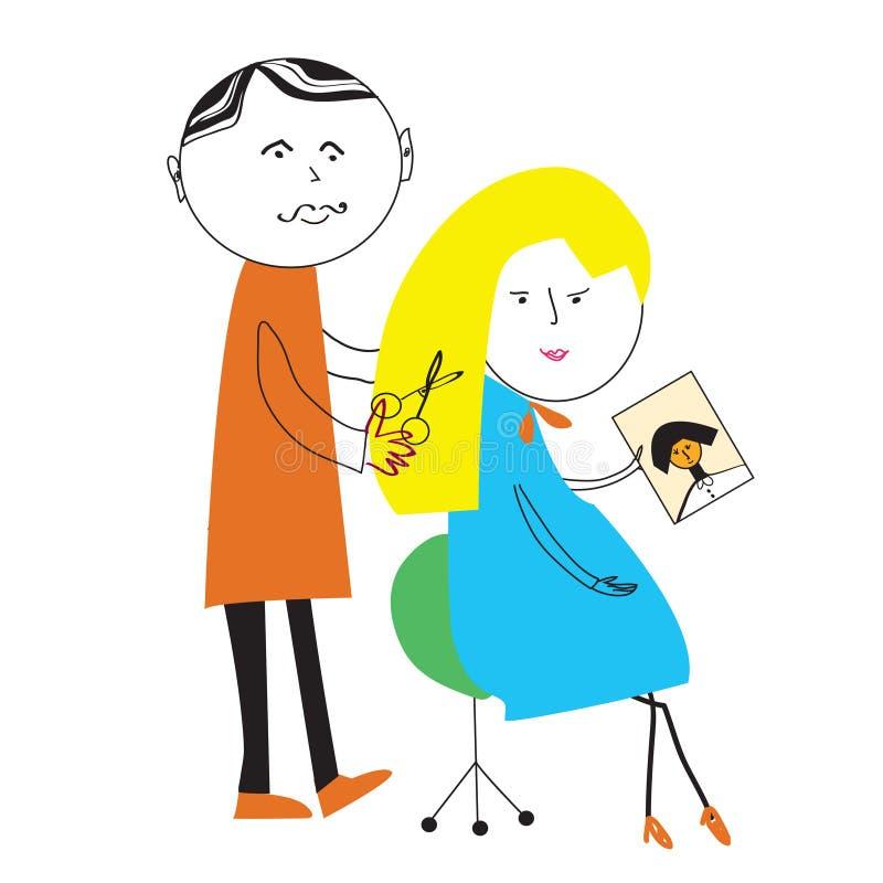 Lustige Szene der Friseur- und Frauenkarikatur lizenzfreie abbildung