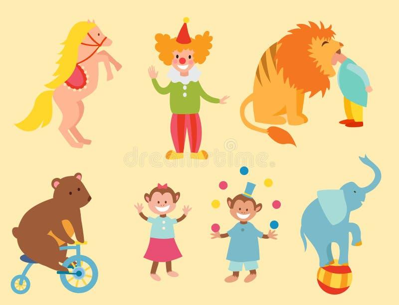 Lustige Tiere des Zirkusses stellten Zoounterhaltungssammlungsjongleurhaustiermagierausführendkarneval der Vektorikonen vom nette vektor abbildung
