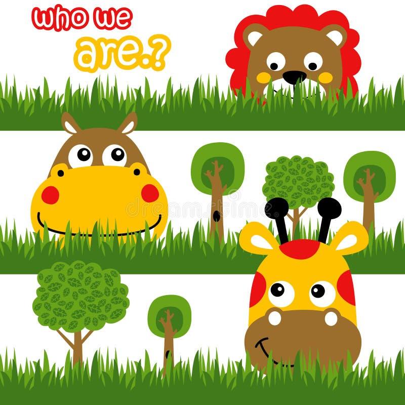 Lustige Tiere hinter dem Gras, Vektorkarikatur lizenzfreie abbildung