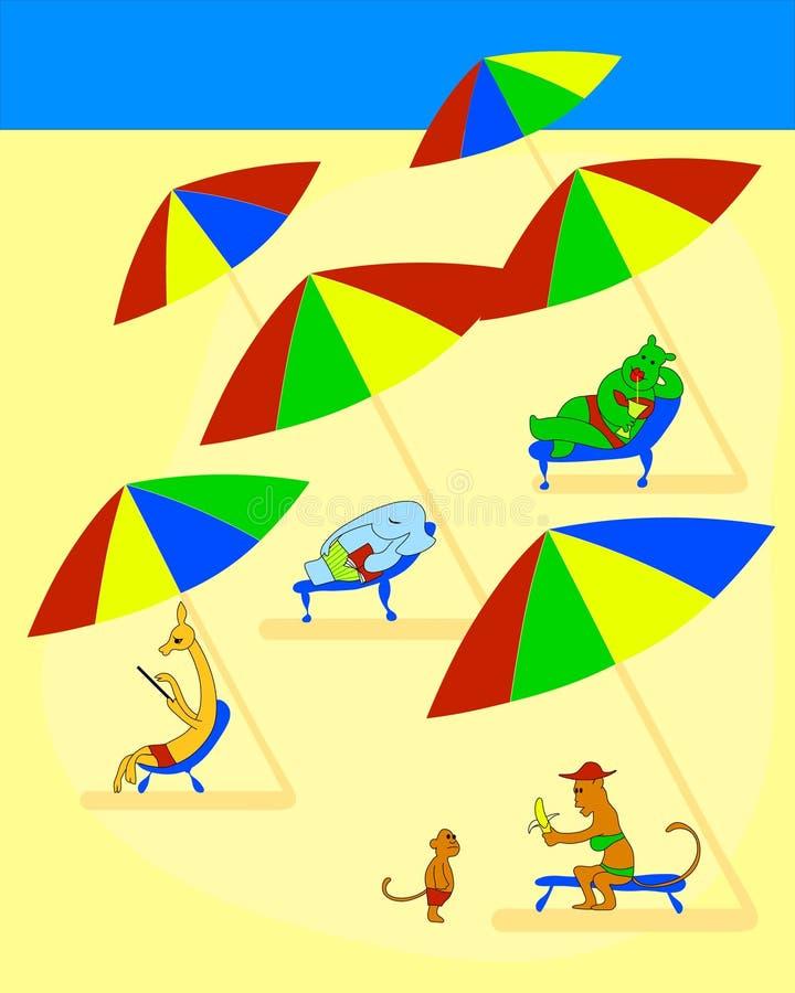 Lustige Tiere liegen in den Sonnenruhesesseln auf dem Strand Fische in einem Baum lizenzfreie abbildung