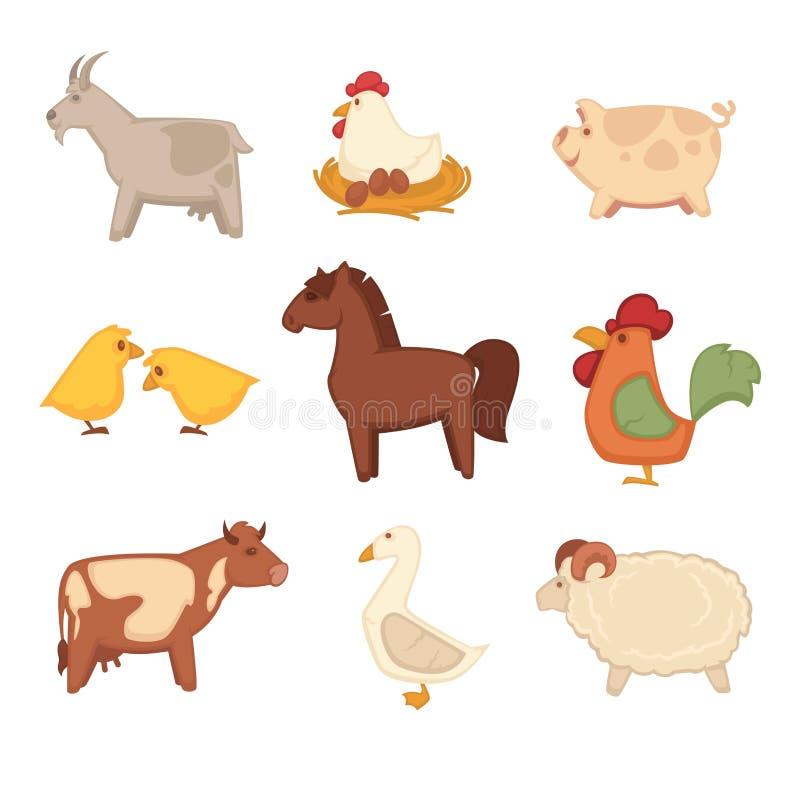 Lustige Tiere von den Bauernhof lokalisierten Karikaturillustrationen eingestellt stock abbildung