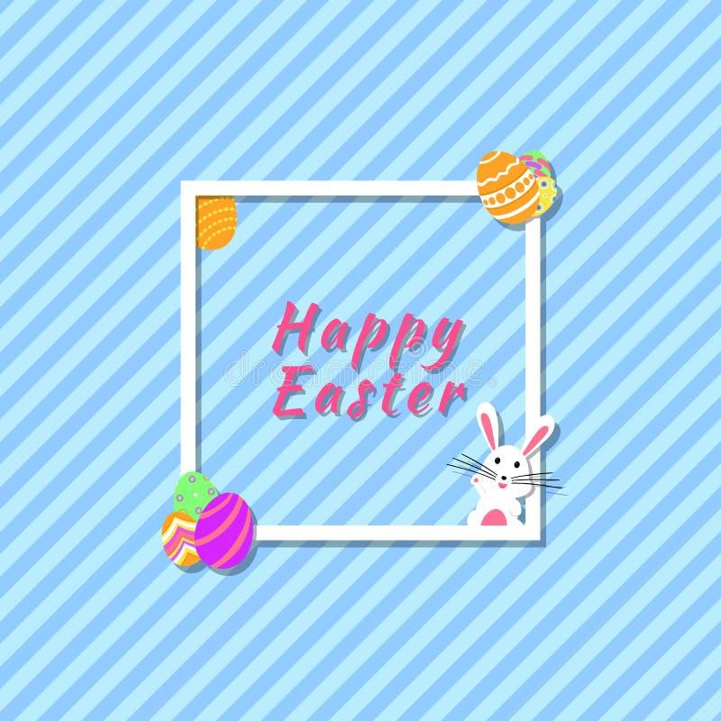 Lustige und bunte glückliche Ostern-Grußkarte der modernen Fahne mit Kaninchen-, Häschenillustrations-, Ei-, Text- und Streifenhi stock abbildung