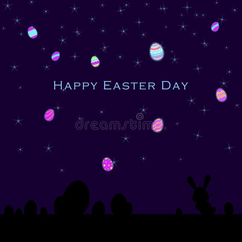 Lustige und bunte glückliche Ostern-Grußkarte mit Schattenbild des Kaninchens, des Häschens, der Eiillustration, der Sterne und d stock abbildung