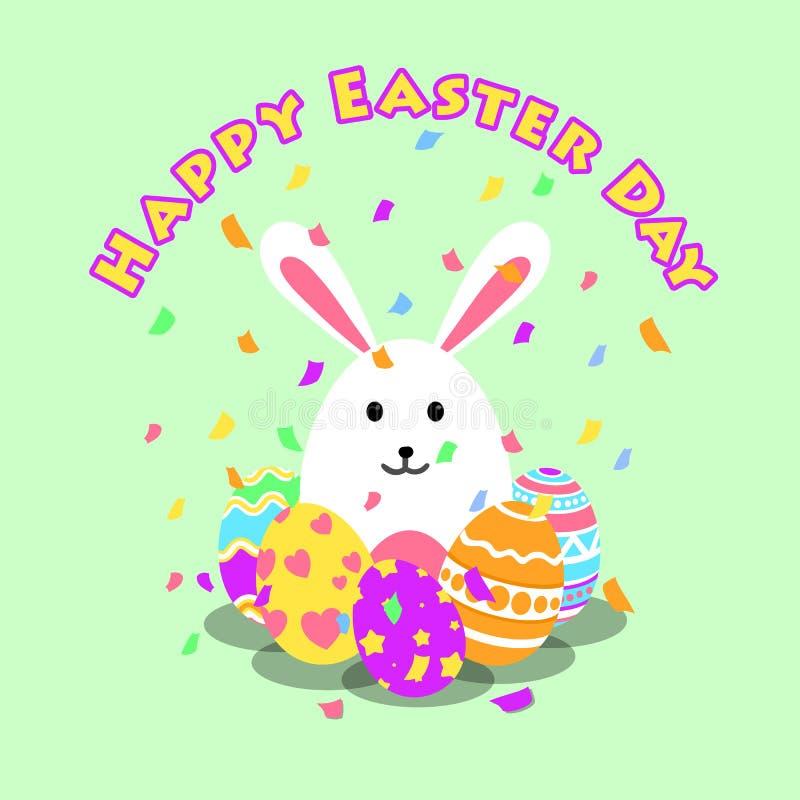 Lustige und bunte glückliche Ostern-Grußkarte und -Partei mit Kaninchen, Häschenillustration, Eiern, Konfettipartei und Text vektor abbildung