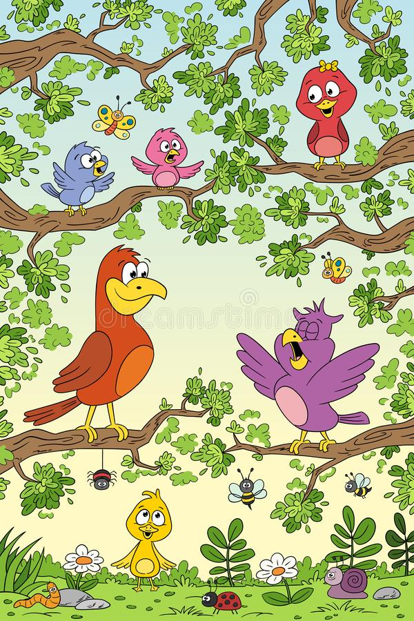 Lustige Vögel im Baum lizenzfreie abbildung