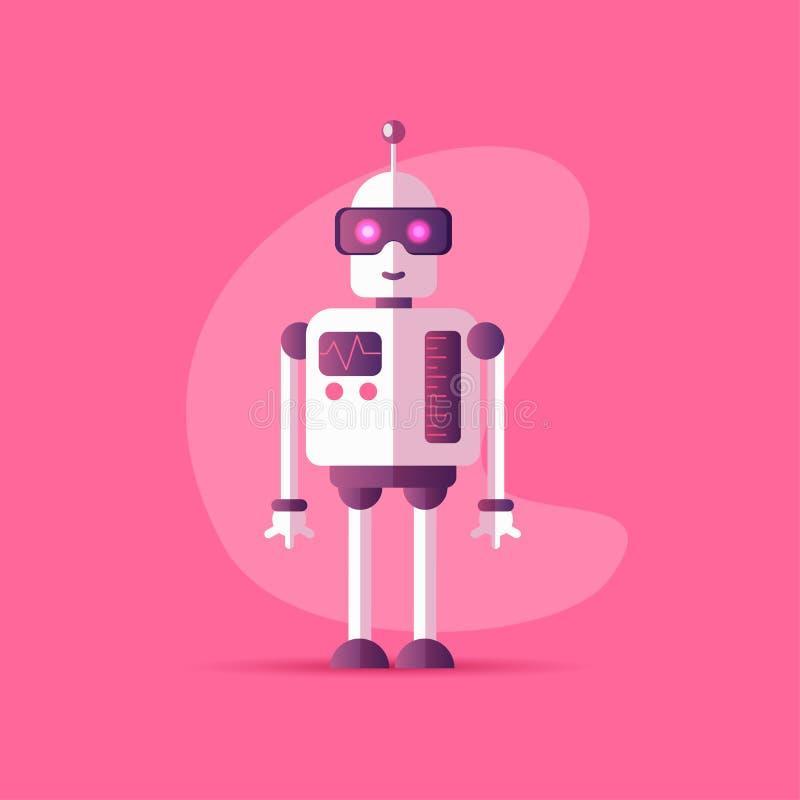 Lustige Vektorroboterikone in der flachen Art lokalisiert auf rosa Hintergrund Vektorillustration von Chatbot-Ikone mit Neonfarbe stock abbildung