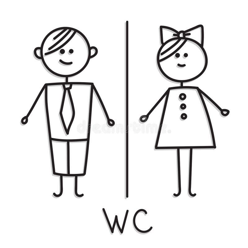 Lustige WC-Türschildsymbole Symbol des Mannes, Frau, Junge, Mädchen oilet Türschildikone Herren und Damen WC-Zeichen für Toilette stock abbildung