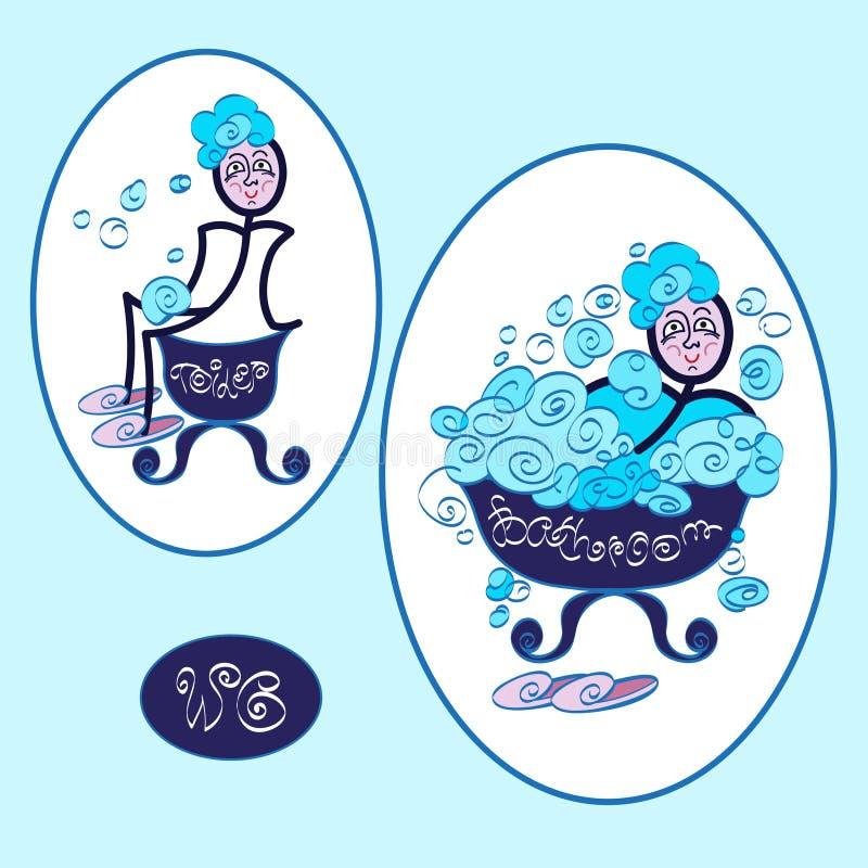Lustige WC-Toilettensymbole vektor abbildung