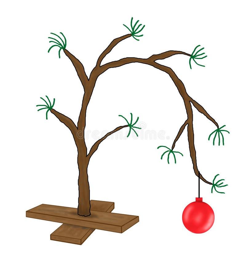 Lustige Weihnachtsbaum-Karikatur Charlie-Brown lizenzfreie abbildung