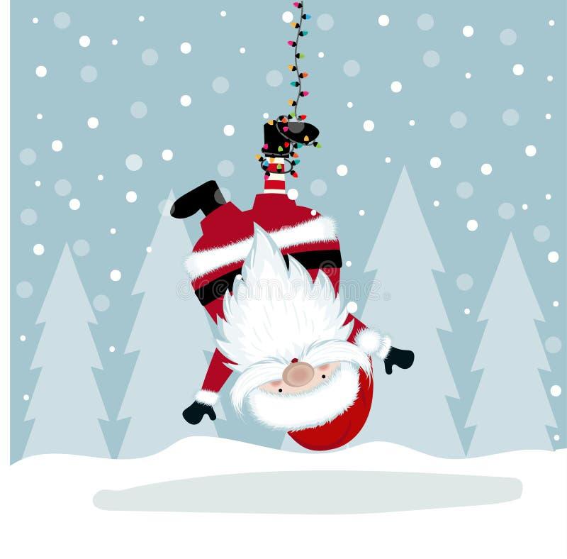 Lustige Weihnachtsillustration mit dem Hängen von Sankt lizenzfreie abbildung