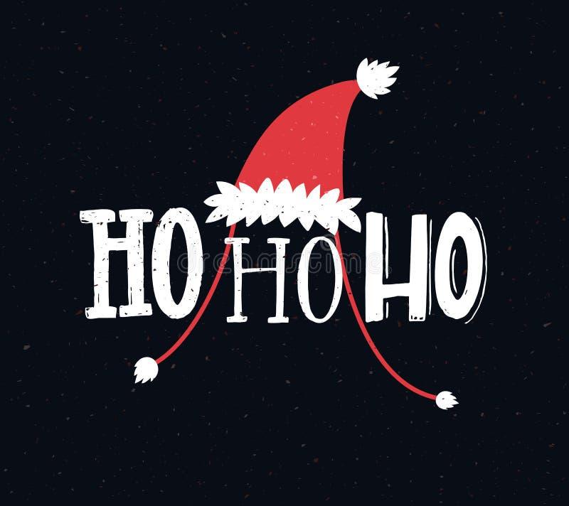 Lustige Weihnachtskarte mit Text ho ho ho Handbeschriftungsgrüße lizenzfreie abbildung