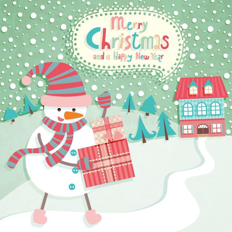 Lustige Weihnachtspostkarte vektor abbildung