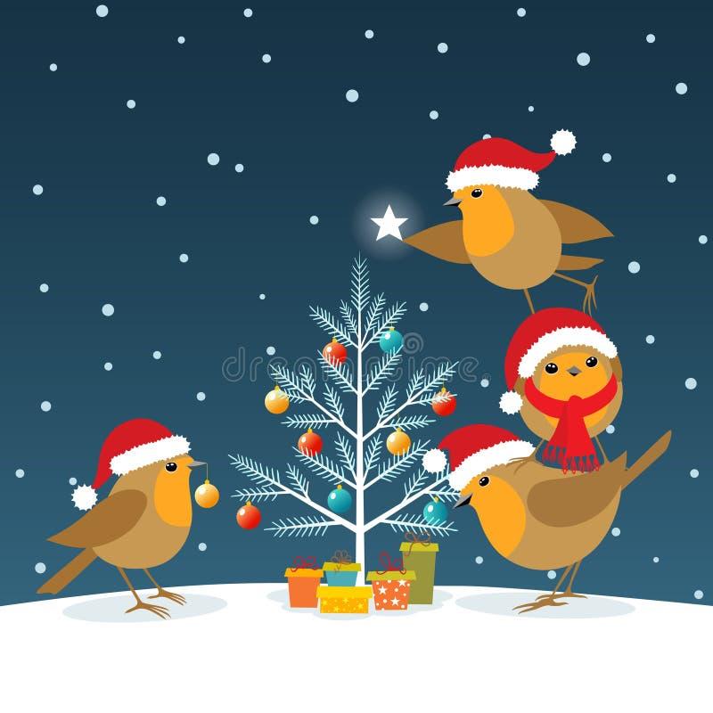 Lustige Weihnachtsrotkehlchen stock abbildung