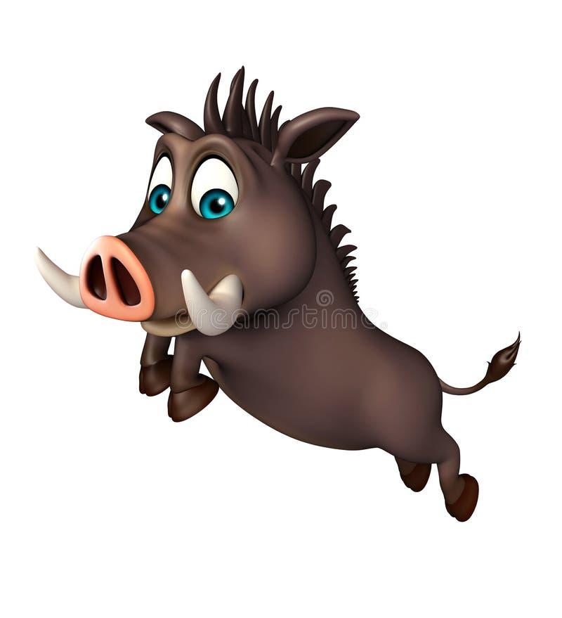 Lustige Zeichentrickfilm-Figur des netten Ebers mit dem Springen vektor abbildung