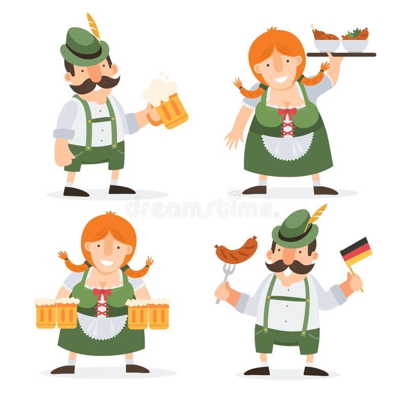 Lustige Zeichentrickfilm-Figuren Oktoberfest in den Volkskostümen von Bayern Auch im corel abgehobenen Betrag vektor abbildung
