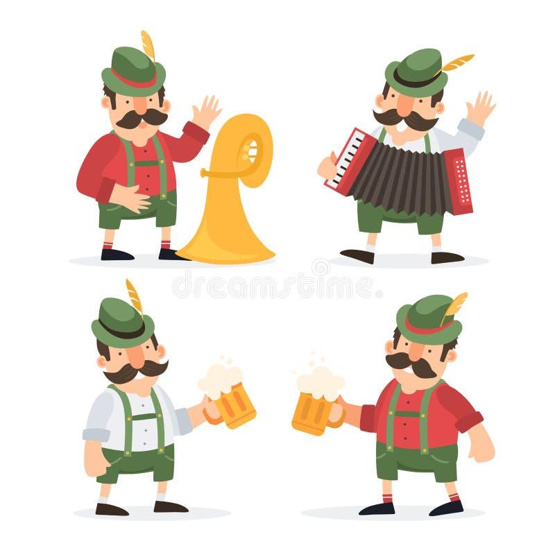 Lustige Zeichentrickfilm-Figuren und Musiker in den Volkskostümen von Bayern feiern und haben Spaß am Oktoberfest-Bierfestival stock abbildung