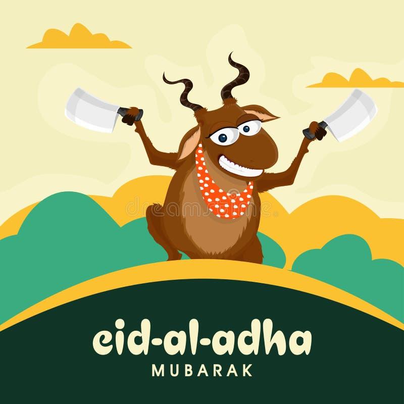 Lustige Ziege mit Zerhackern für Eid al-Adha vektor abbildung