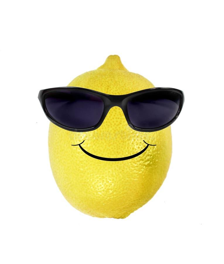 Lustige Zitrone in den Sonnenbrillen stockbild