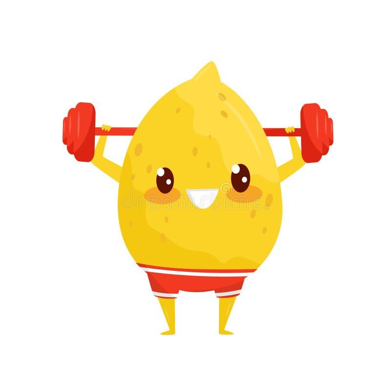 Lustige Zitrone, die mit Barbell, sportive Fruchtzeichentrickfilm-figur tut Eignungsübungs-Vektor Illustration auf a trainiert lizenzfreie abbildung
