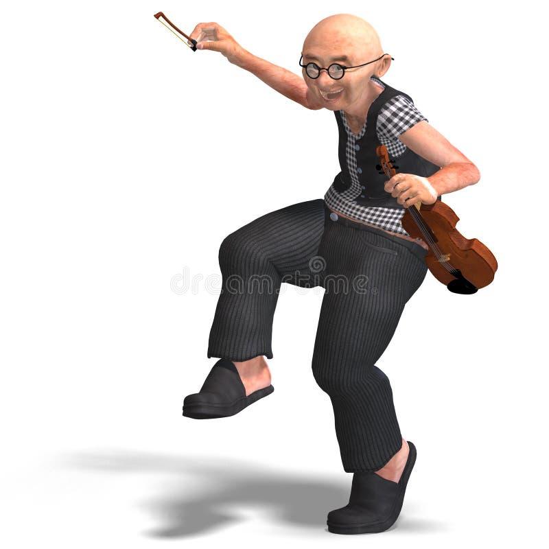 Lustiger Älterer spielt die Violine stock abbildung