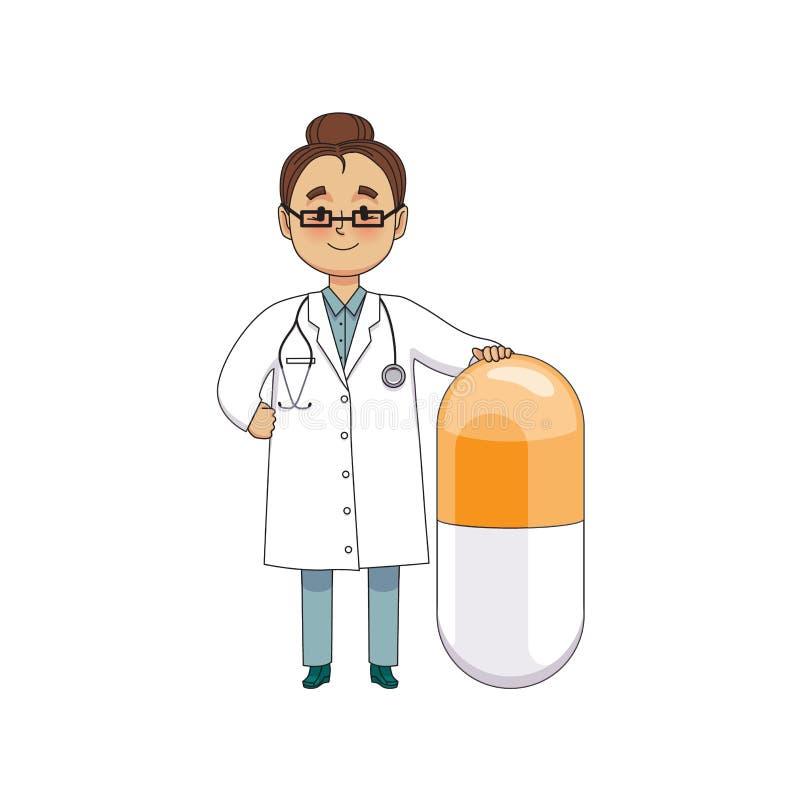 Lustige Doktoren Mit Riesiger Pille Und Thermometer Vektor
