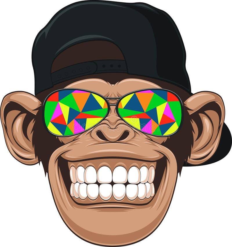 Lustiger Affe mit Gläsern stock abbildung
