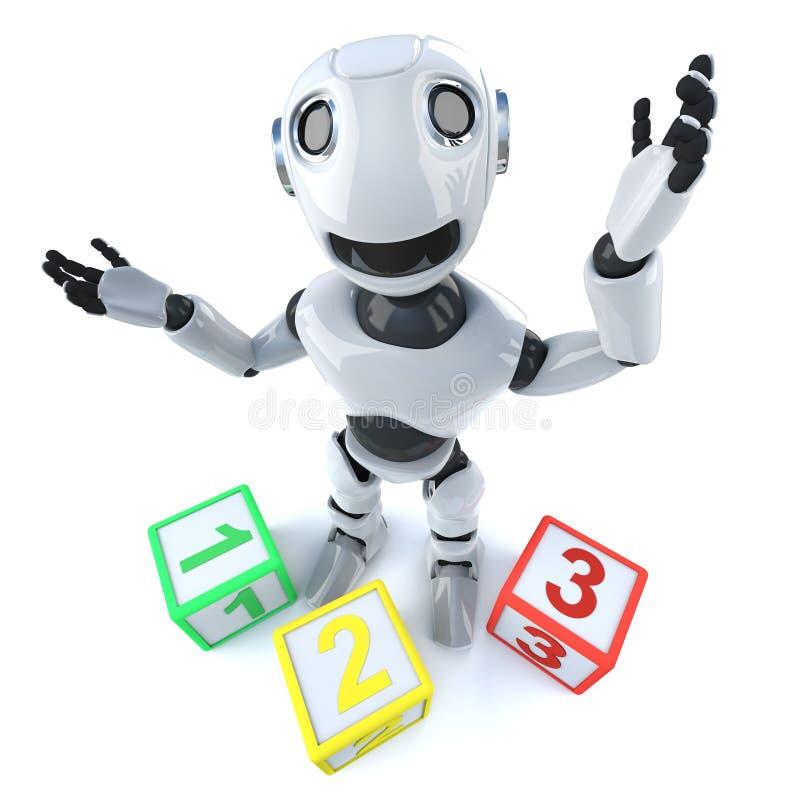 lustiger Android Roboter der Karikatur 3d unter Verwendung der Zählung von Blöcken stock abbildung