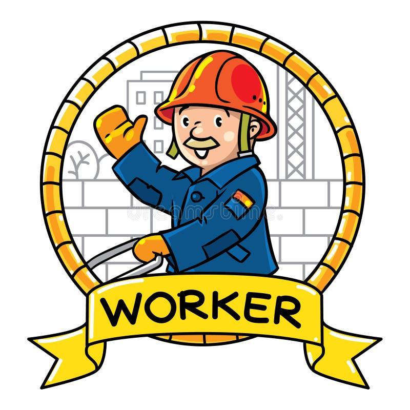 Lustiger Architekt mit einem Hammer und einem Ziegelstein emblem Beruf ABC-Reihe lizenzfreie abbildung
