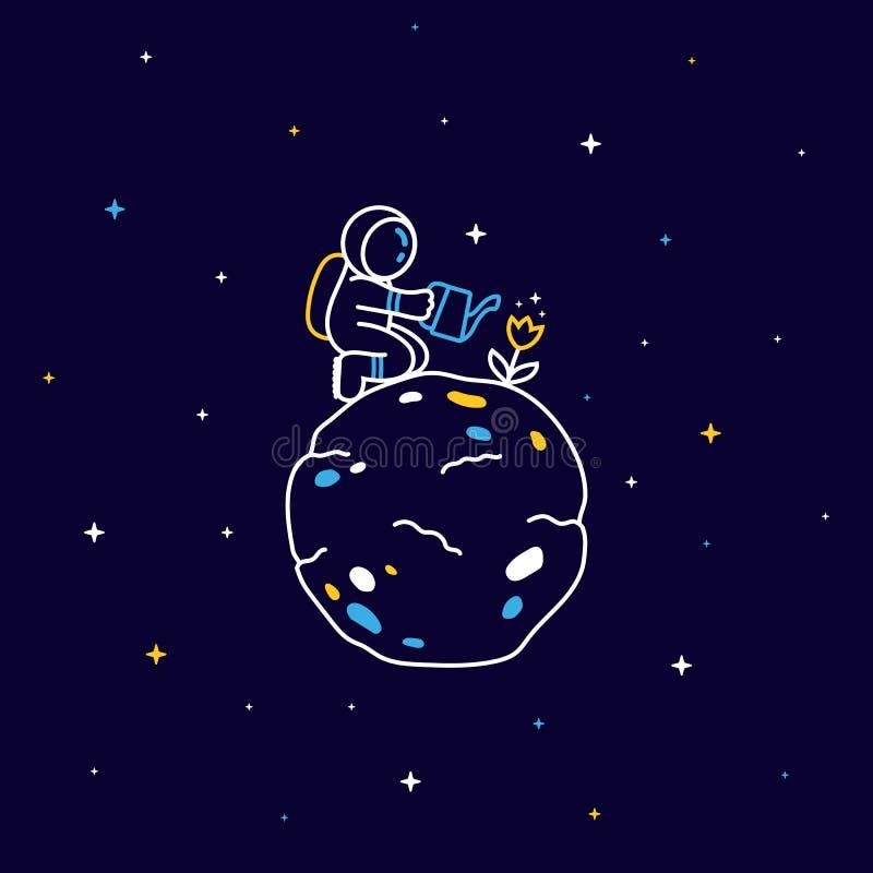 Lustiger Astronaut, der auf Planeten sitzt und eine Blume mit Sternen herum wässert lizenzfreie abbildung