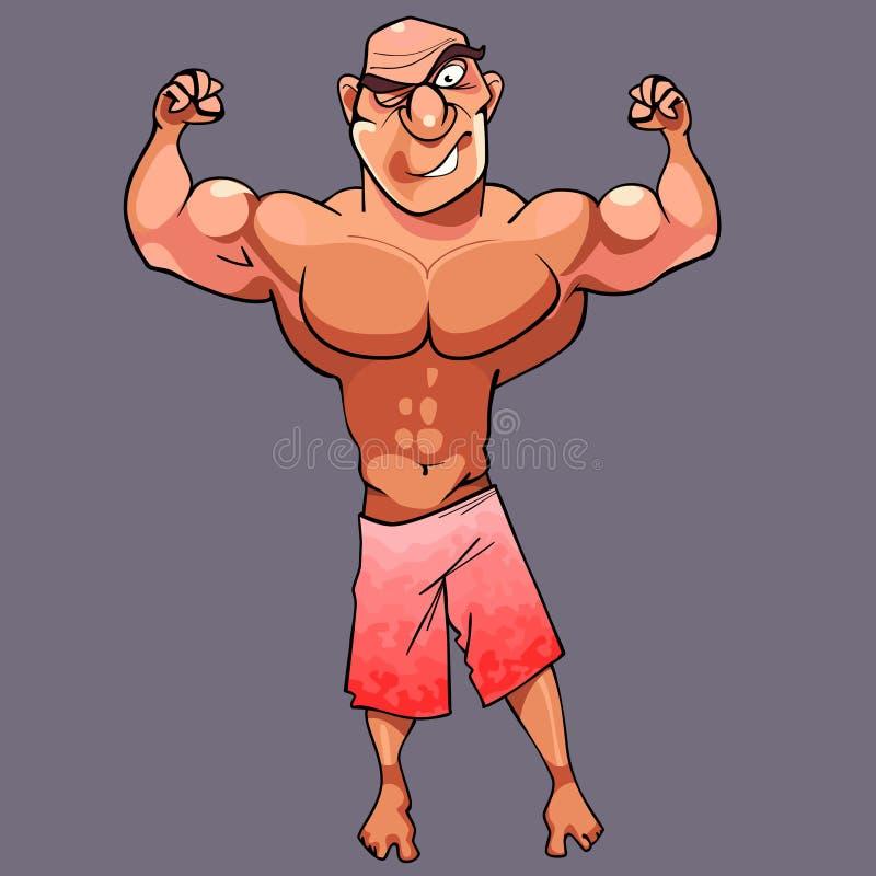 Lustiger athletischer männlicher Bodybuilder der Karikatur wirft auf lizenzfreie abbildung