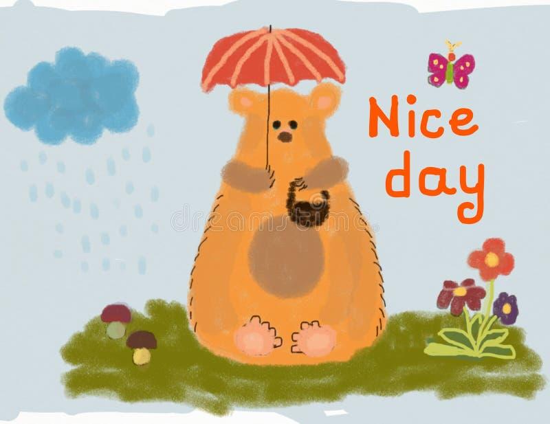 Lustiger Bär, der auf dem Gras unter Regenschirm sitzt Wunsch eines schönen Tages stockfotos