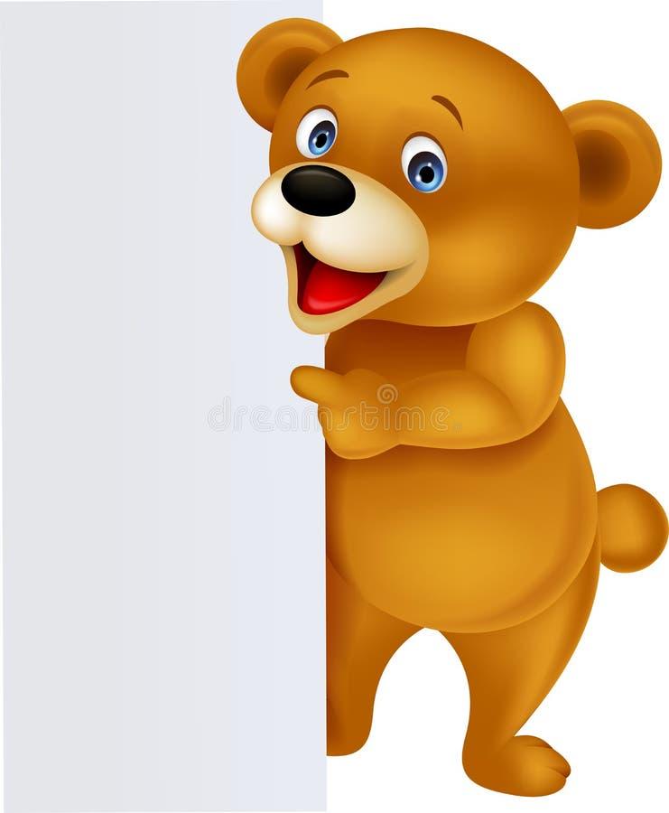 Lustiger Bär mit leerem Zeichen stock abbildung