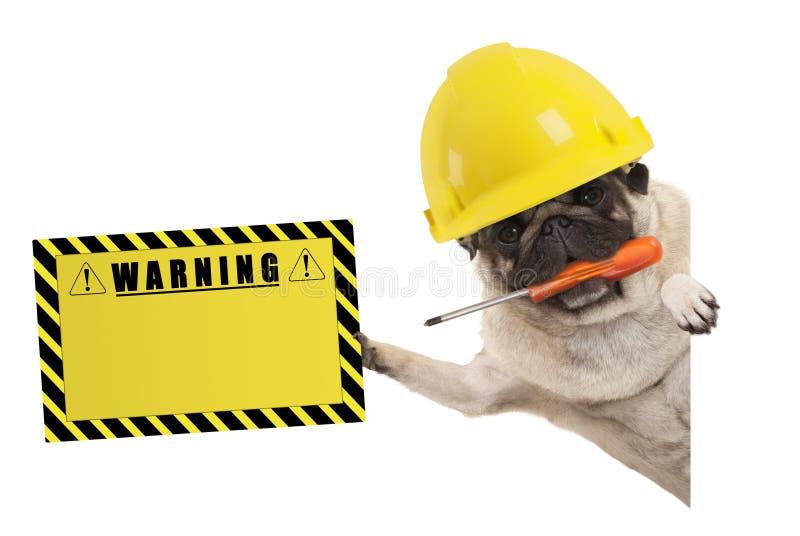 Lustiger Bauarbeiter Pughund mit Erbauersturzhelm, orange Schraubenzieher und gelbes Warnzeichenbrett halten lizenzfreies stockfoto