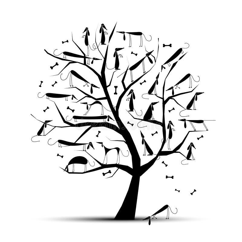Lustiger Baum mit Hunden auf Zweigen für Ihre Auslegung vektor abbildung