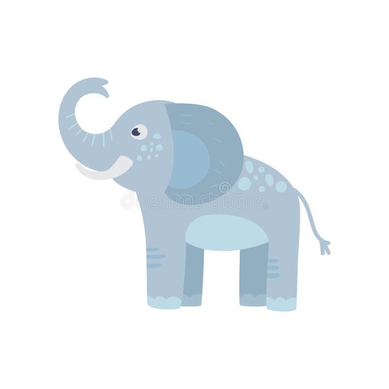 Lustiger blauer Elefant mit langem Stamm, große Ohren und Stellen ziehen an sich zurück Wildes Tier der Karikatur Zookonzept Flac lizenzfreie abbildung