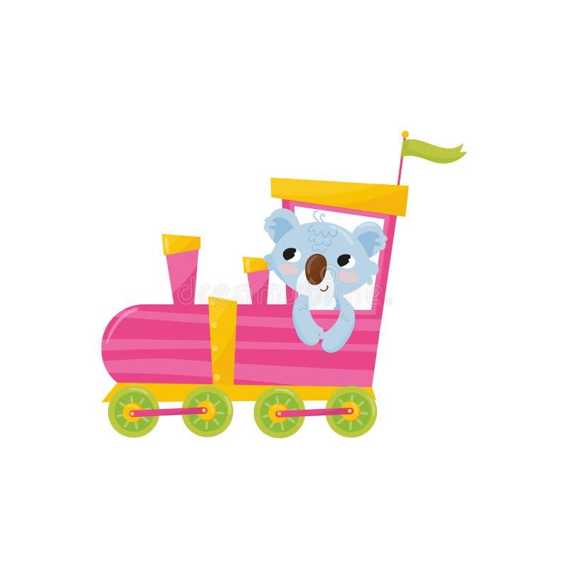 Lustiger blauer Koala mit den rosa Backen, die auf bunten Zug fahren Karikatur-Tier-Charakter Flaches Vektordesign für Notizbuch stock abbildung