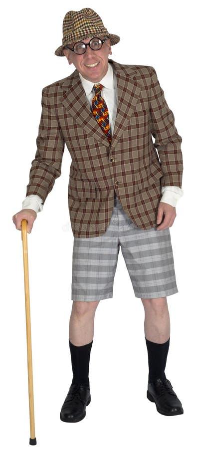 Lustiger Brunnen gekleideter älterer älterer Mann, lokalisiert stockbild