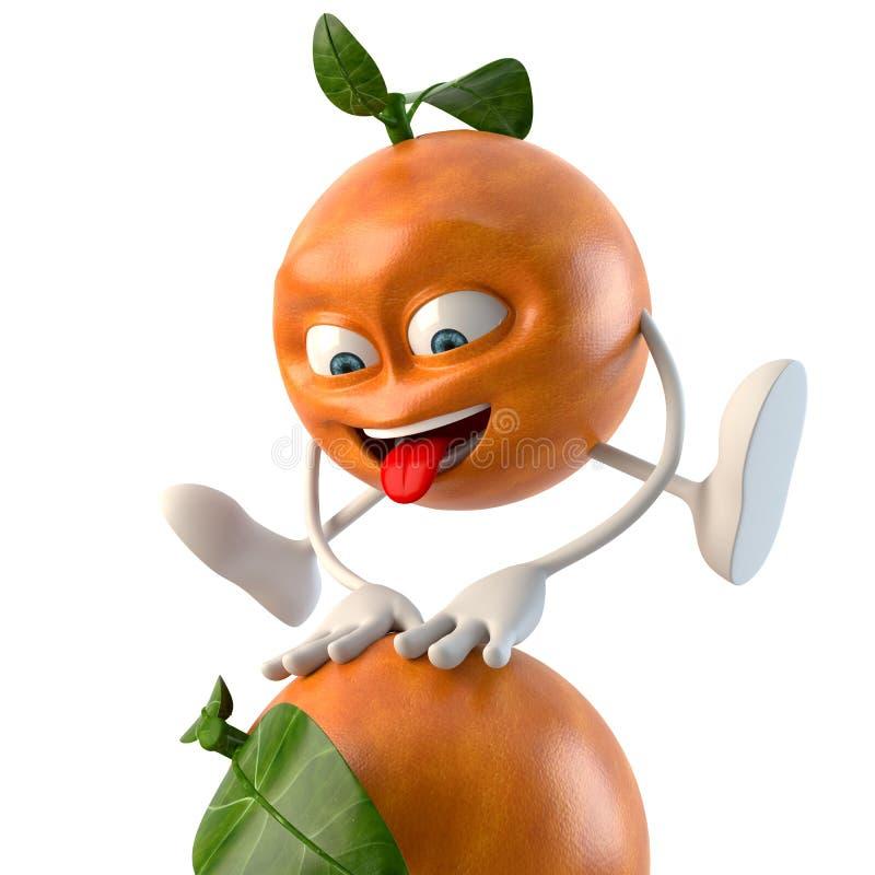 Lustiger Charakter der Frucht 3d, der über eine Orange springt vektor abbildung