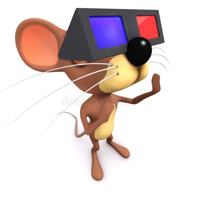lustiger Charakter der Karikatur 3d Mäuse, derein Paar Gläser 3d am Kino trägt lizenzfreie abbildung